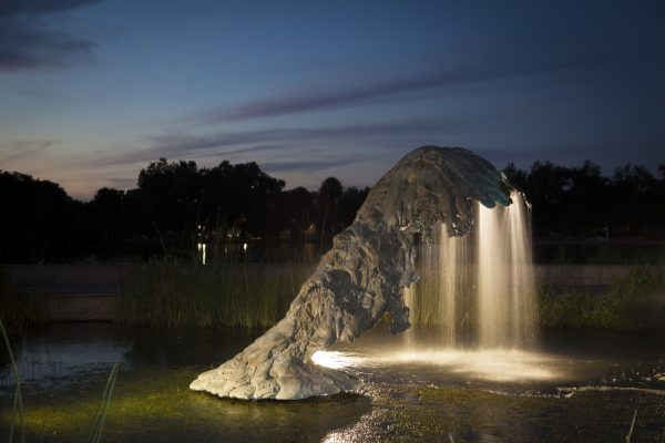 """""""The Wave of the World""""  (1983–84) by Lynda Benglis, bronze fountain installed in New Orleans City Park at Big Lake"""